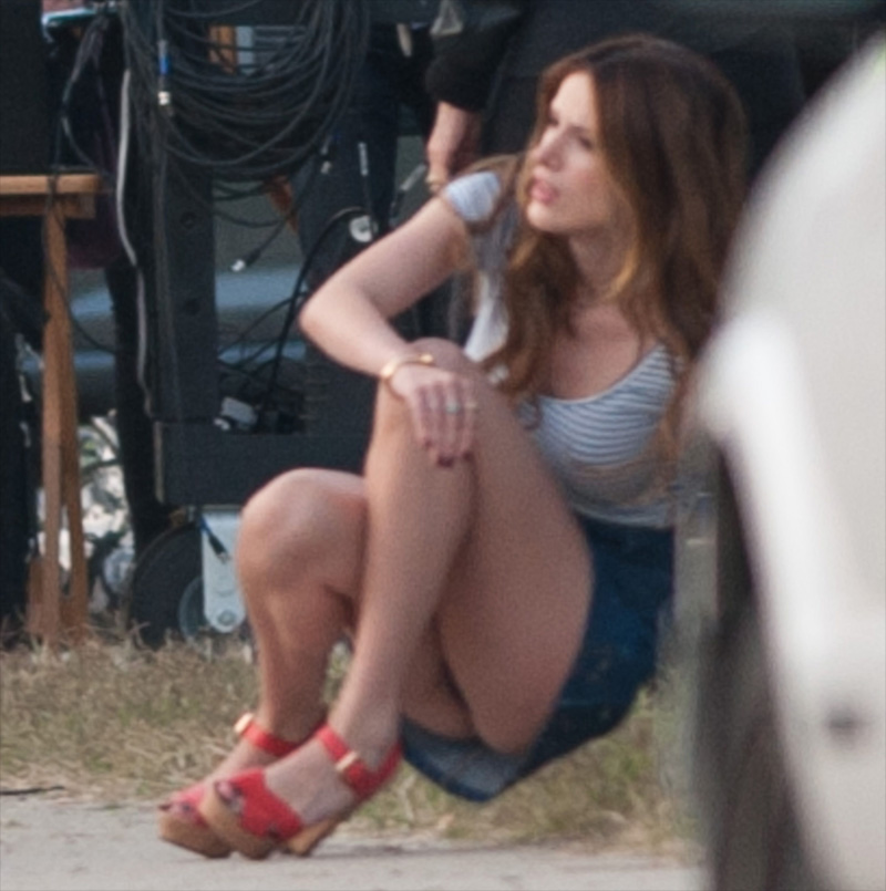 Bella Thorne Black Pantie Upskirt on Movie Set