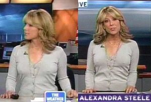 Weather Channel Newscaster Alexandra, Nipples made of Steele?
