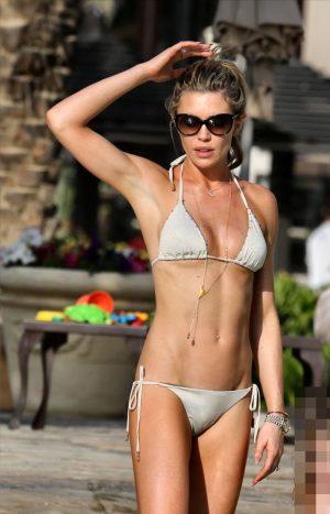 Abbey Clancy Cameltoe in her White Bikini
