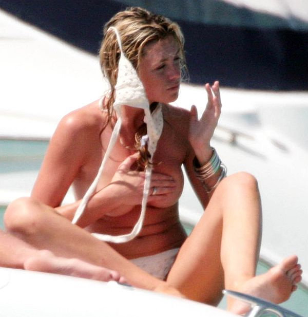 Abigail Clancy Topless After Flubbed Attempt Putting On Bikini Top