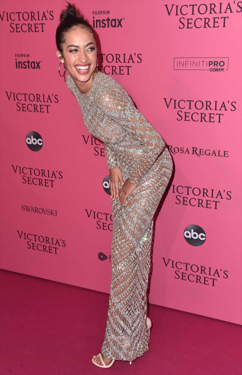 Alanna Arrington Braless in Dress at the Victoria Secret After Party