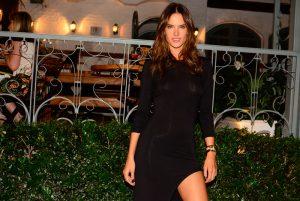 Alessandra Ambrosio Braless in her Black Tight Dress