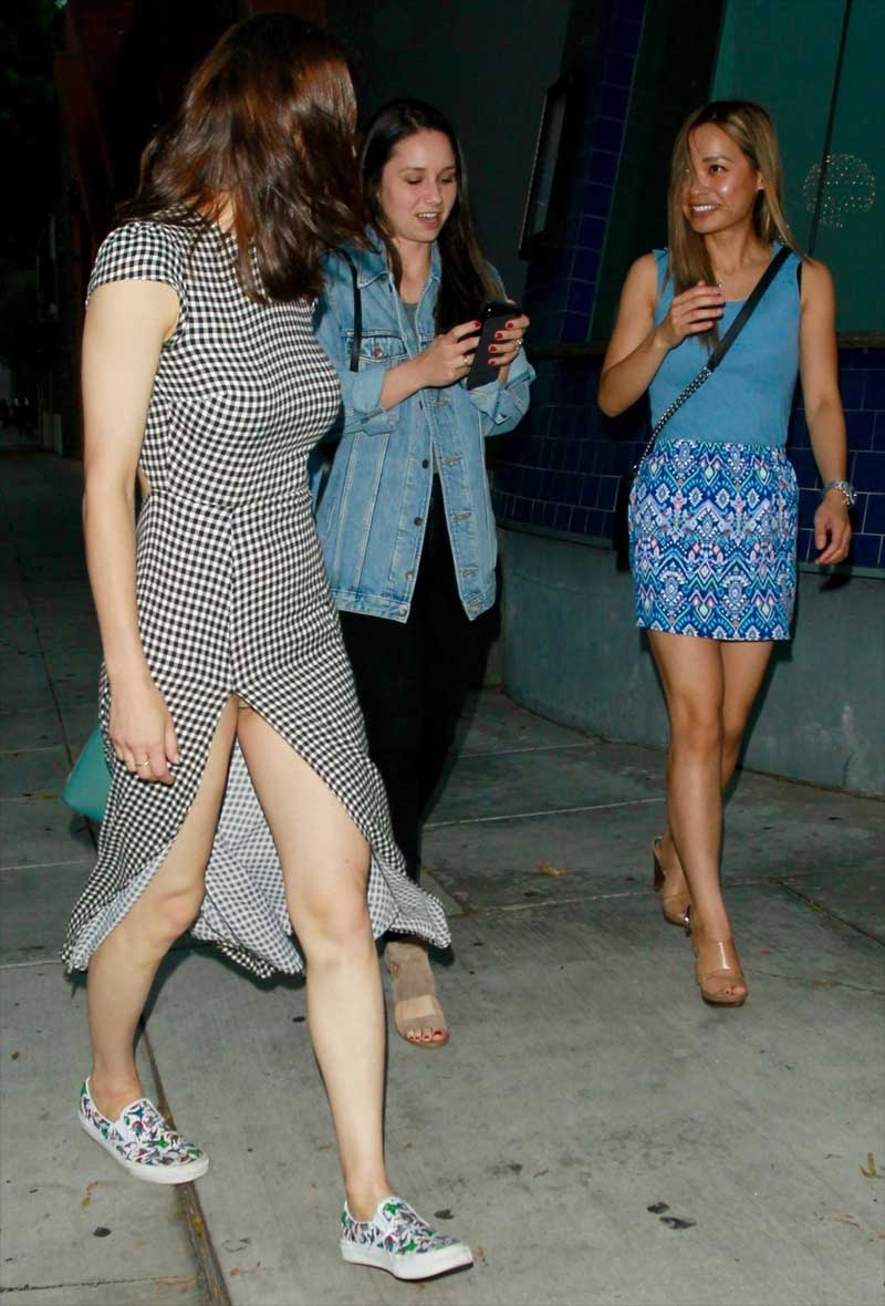 Alexandra Daddario Panty Upskirt Out with Friends