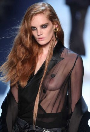 Alexina Graham Breasts in Sheer Blouse on the Catwalk