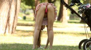 Alicia Arden Pink Pantie Upskirt Practicing Her Golf Swing