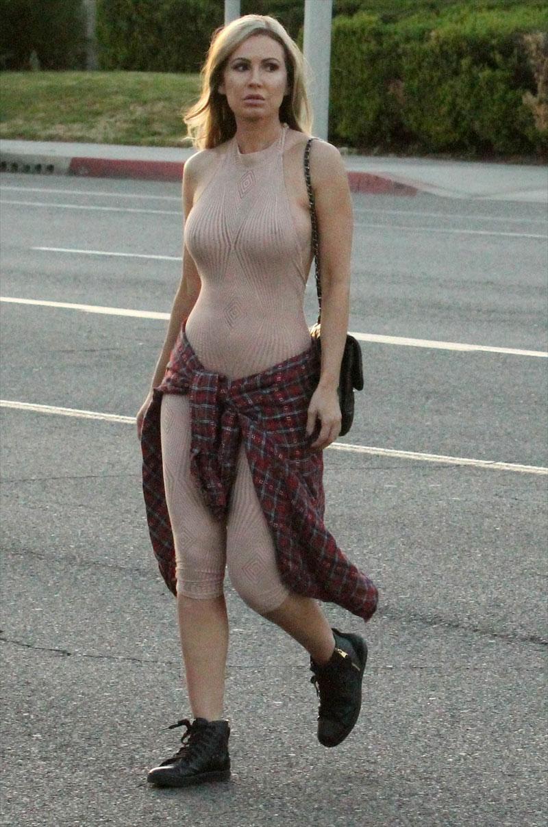 Ana Braga Braless in Totally See Through Dress