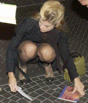 Anke Engelke Panty Upskirt As She Crouches Correctly
