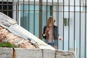 Anja Rubik Caught Topless on her Patio