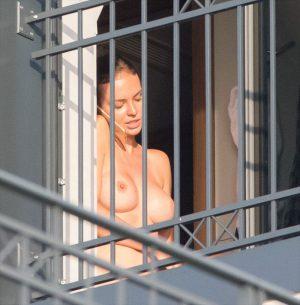 Anna Wendzikowska Caught Topless on a Balcony