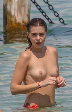 Barbara Opsomer Topless at the Beach