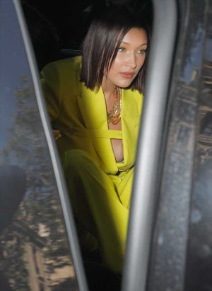 Bella Hadid Slight Areola Peek in Yellow Jacket