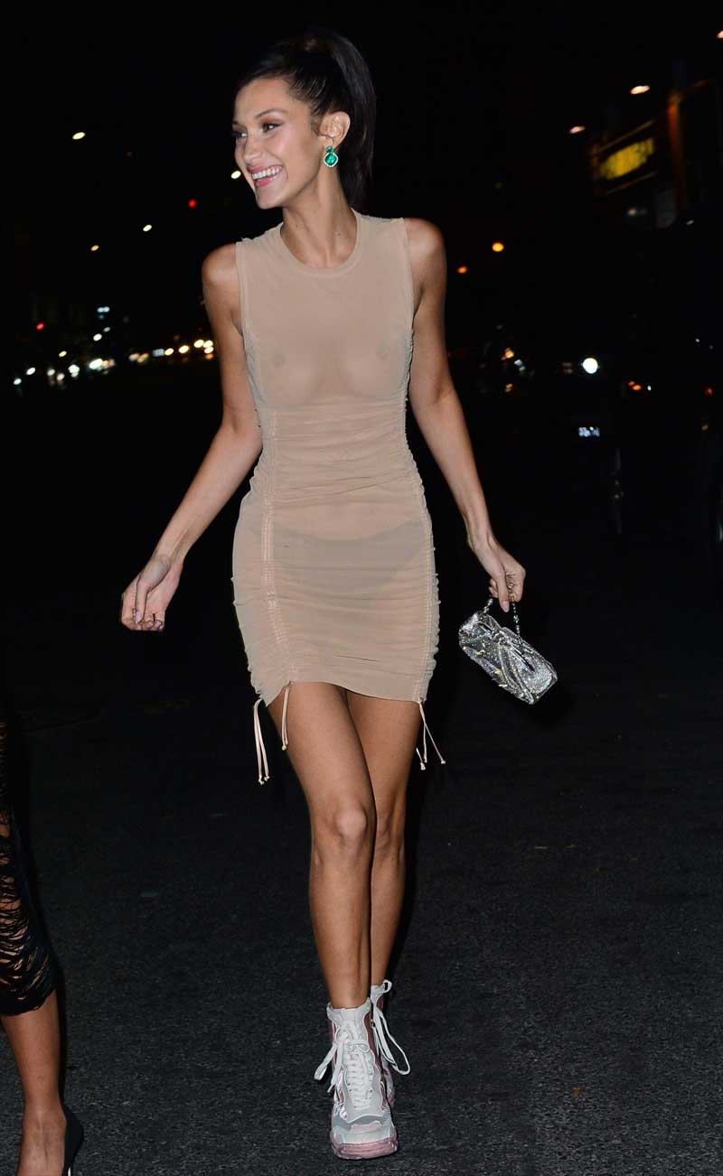 Bella Hadid No Bra in Skin Tight Dress at the VS After Party