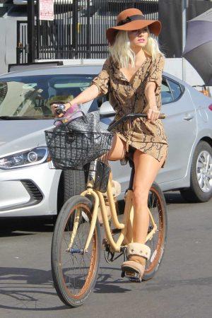 Blanca Blanco Panty Upskirt on her Bike