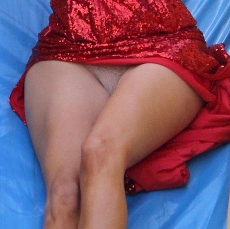 Blanca Blanco Little White Pantie Upskirt on a Slide