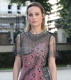 Brie Larson Nipple Slip Peek in See Through Lace Dress