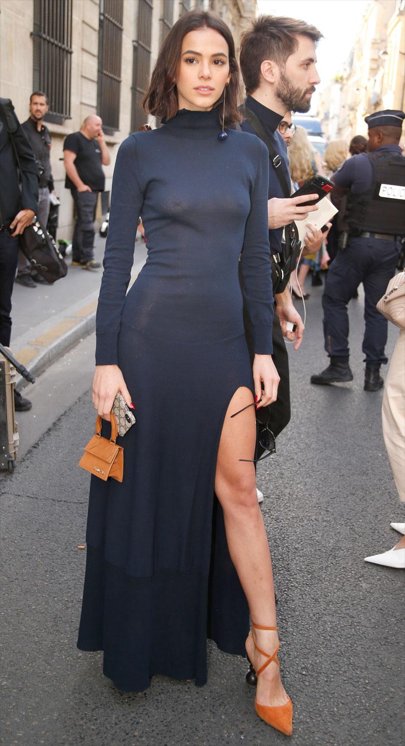 Bruna Marquezine Hard Nipples in Black Dress