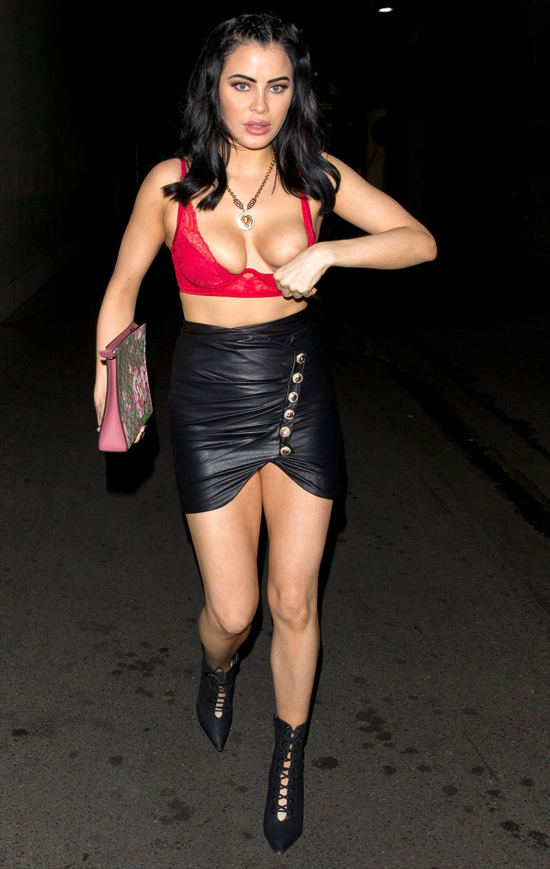 Carla Howe's Nipple Pops Out of her Red Bra
