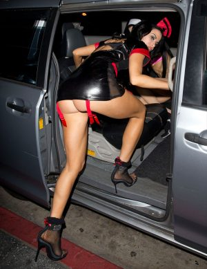 Carla Howe Ass Cheek Upskirt in Leather Costume