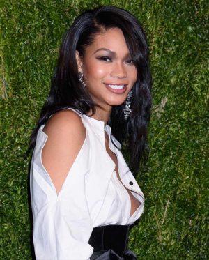 Chanel Iman Nipple Slip in White Blouse