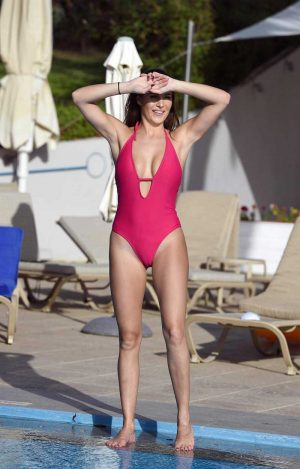 Chloe Goodman Cameltoe in Red One Piece Swimsuit