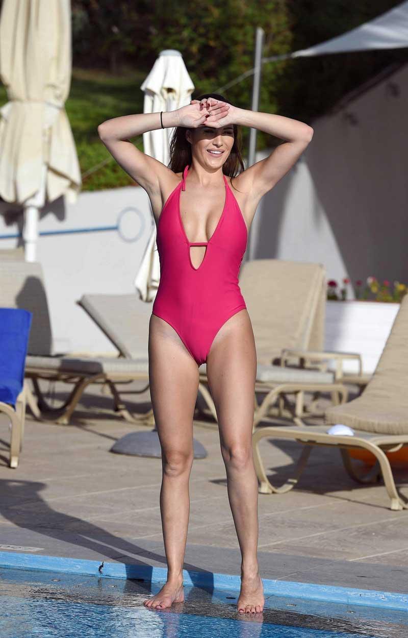 Chloe Goodman Cameltoe in Red One Piece Swimsuit