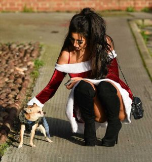 Chloe Khan Upskirt in Mrs.Claus Outfit
