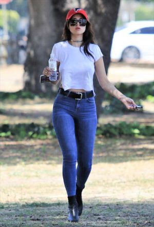 Eiza Gonzalez Braless Pokies in White T-Shirt