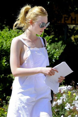 Elle Fanning Areola Slip in Braless Outfit