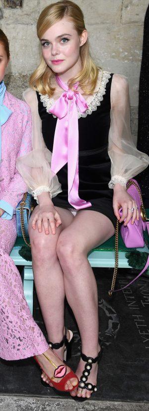 Elle Fanning White Lacy Pantie Upskirt