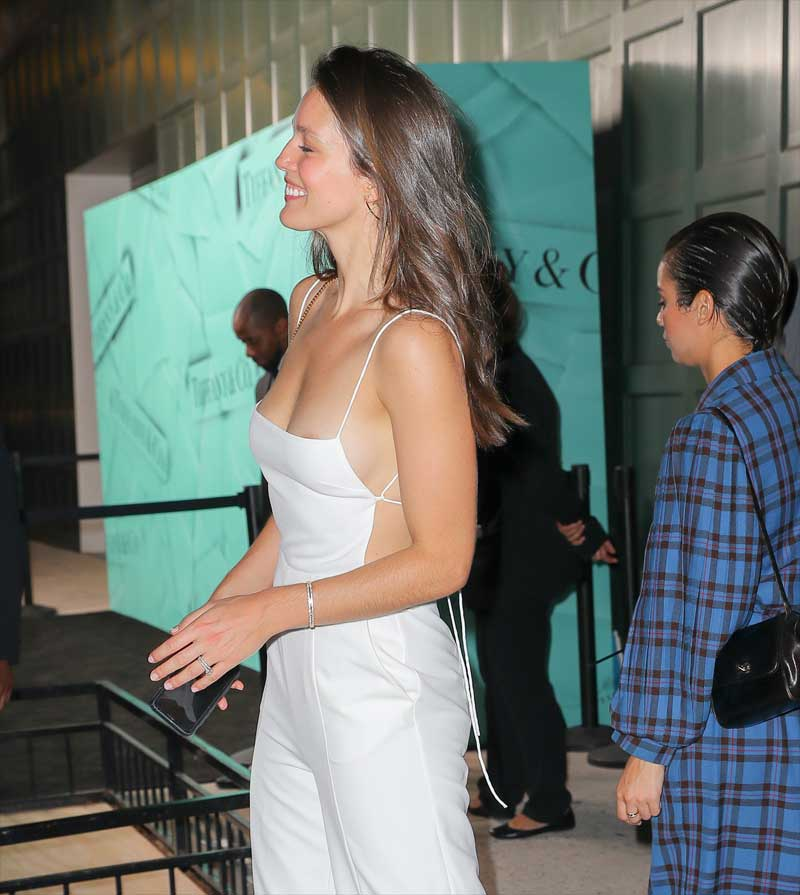 Emily DiDonato Areola Peek in White Pant Suit