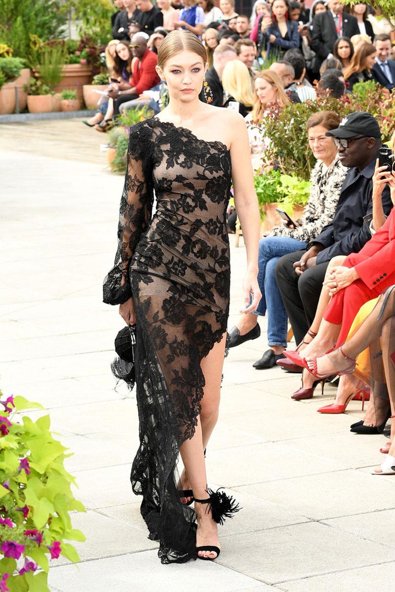 Gigi Hadid Nipples in See Through Black Gown