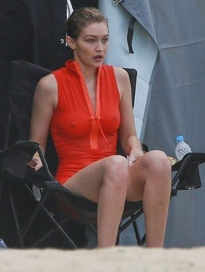Gigi Hadid Cold, Wet Nipples on a Shoot