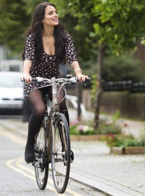 Helen Flanagan Upskirt on her Bike