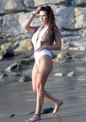 Imogen Townley Nipple Slip on the Beach