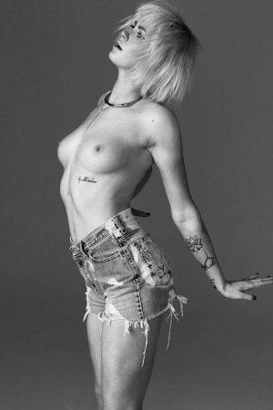 Ireland Baldwin Posing Topless in Black & White