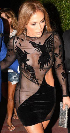 Jennifer Lopez Nip Slip in Black Velvet Dress