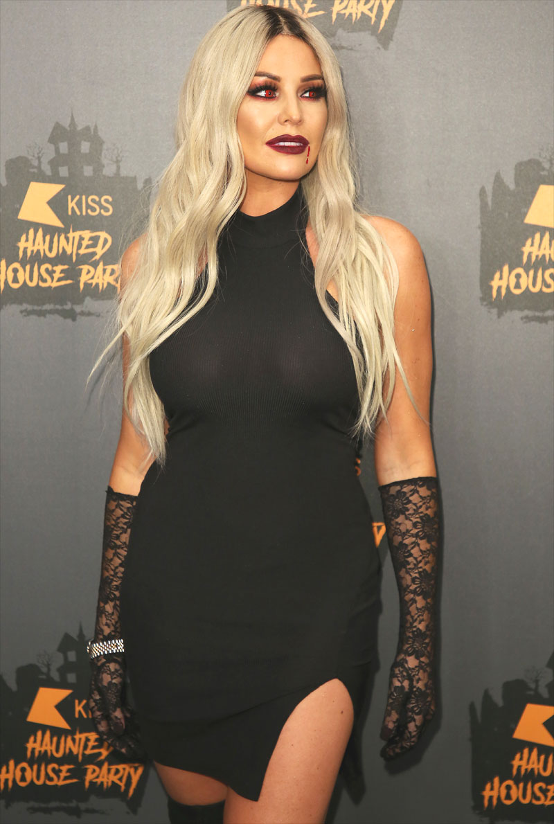 Jessica Wright Braless in Black Dress for Halloween