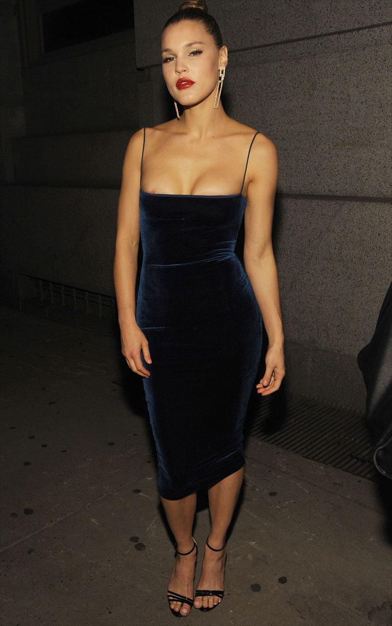 Joy Corrigan Nipple Slip in Black Evening Gown
