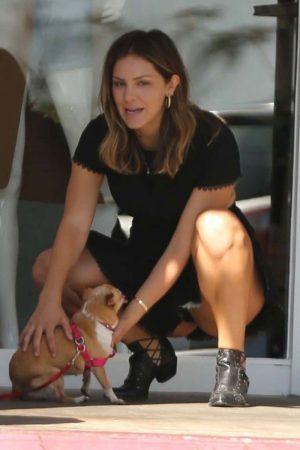 Katherine McPhee Black Pantie Upskirt with a Puppy
