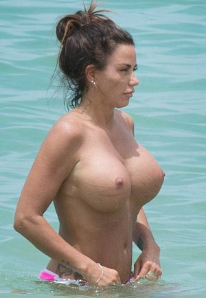 Katie Price Totally Topless at the Beach