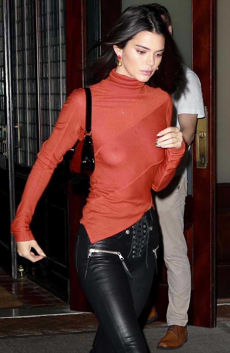 Kendall Jenner in a See Through Sweater and Leather Pants