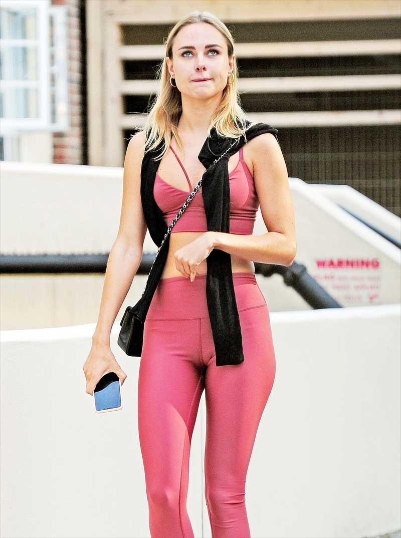 Kimberley Garner Cameltoe in Pink Workout Gear