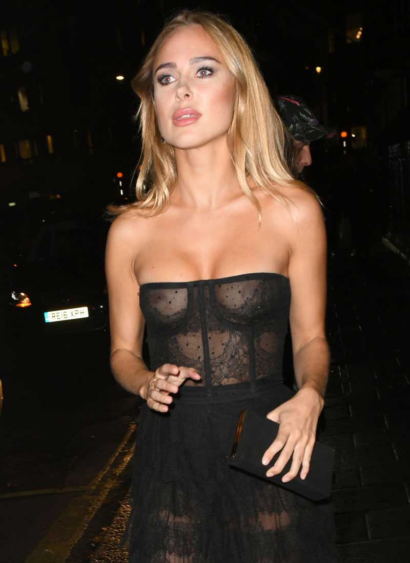 Kimberley Garner Nipples in Black Mesh Corset