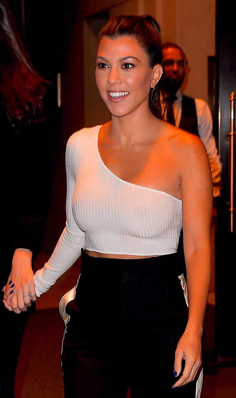 Kourtney Kardashian Big Brown Nipples with No Bra