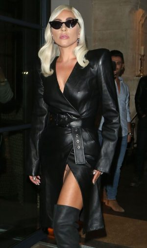 Lady Gaga No Panties Peek Up her Leather Skirt