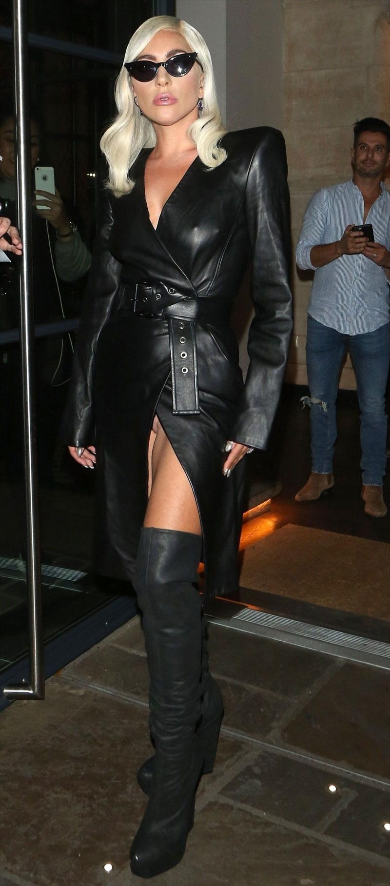 Lady Gaga No Panties Peek Up her Leather Skirt