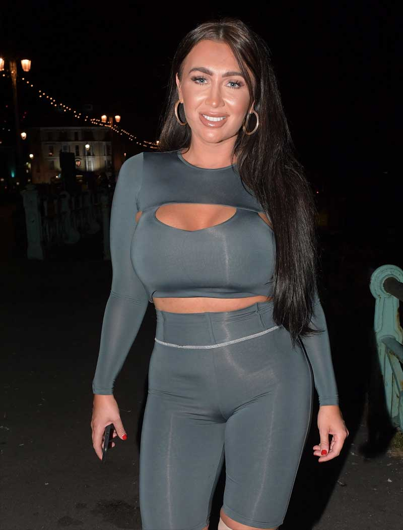 Lauren Goodger Cameltoe in Skintight Grey Outfit