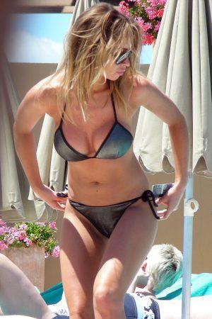 Lauren Pope Camel Toe in Silver Bikini