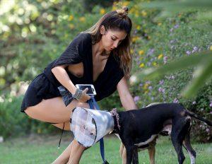 Leilani Dowding Nip Slip While Walking her Dog