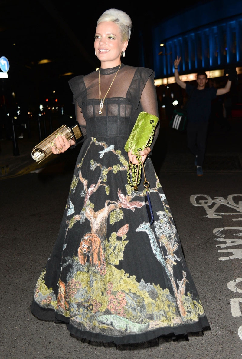 Lily Allen Nipples in Black Lacy Dress